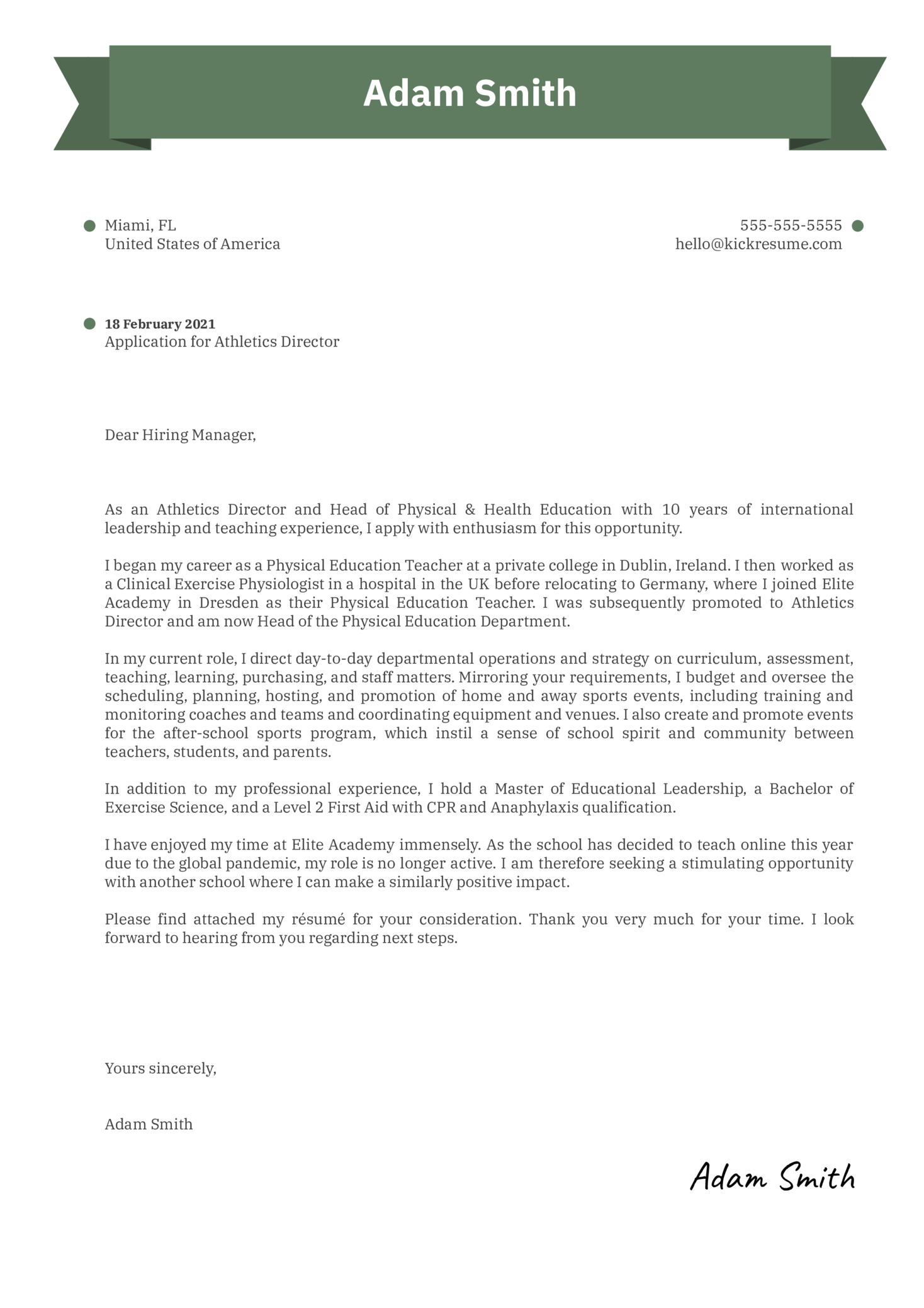 Athletics Director Cover Letter Example