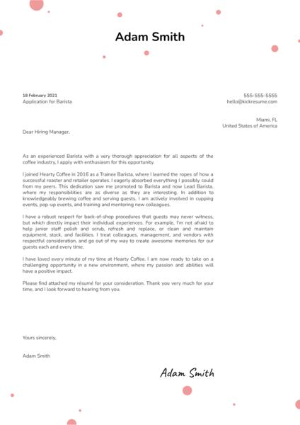 Barista Cover Letter Template