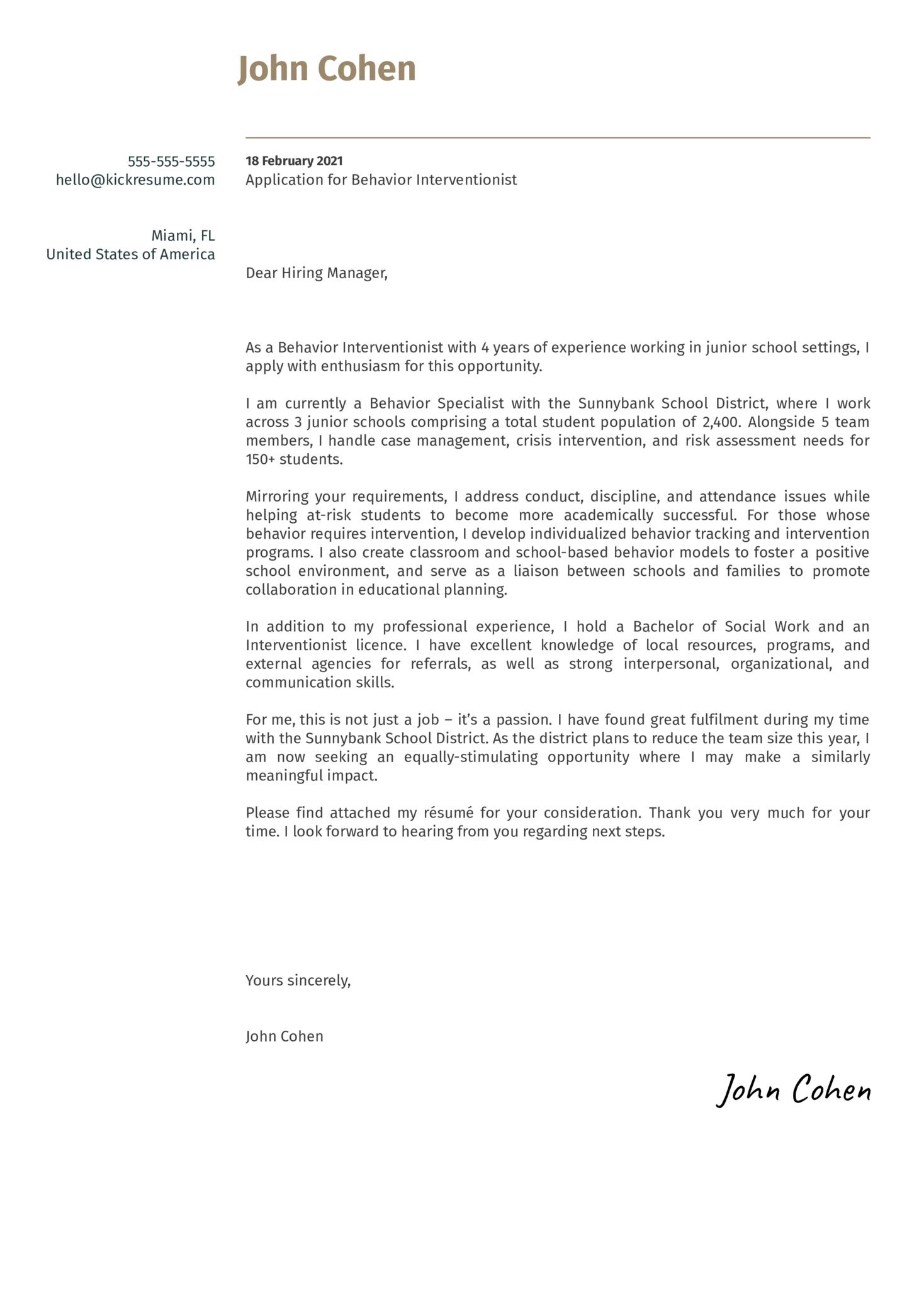 Behavior Interventionist Cover Letter