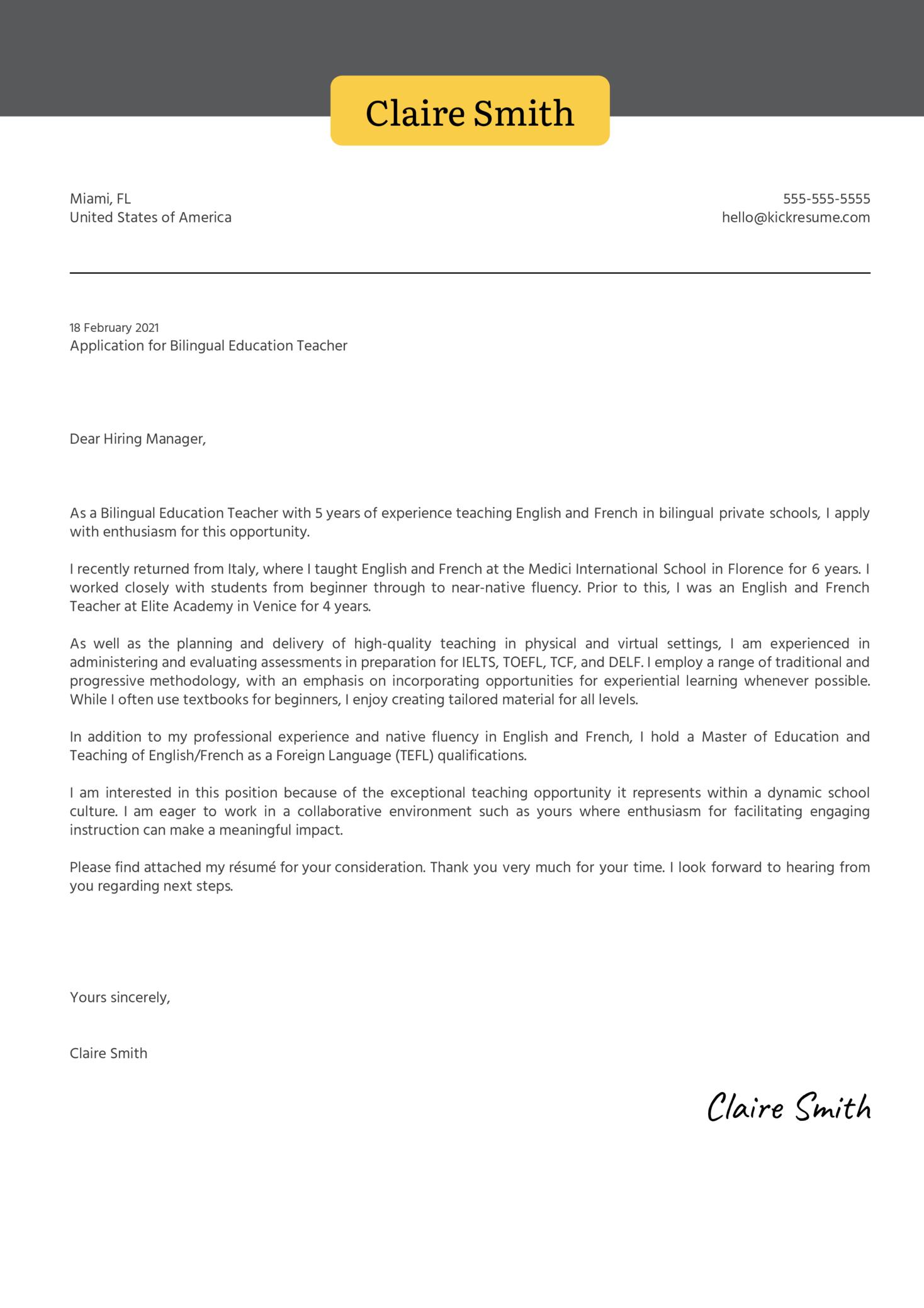 Bilingual Education Teacher Cover Letter Example   Kickresume