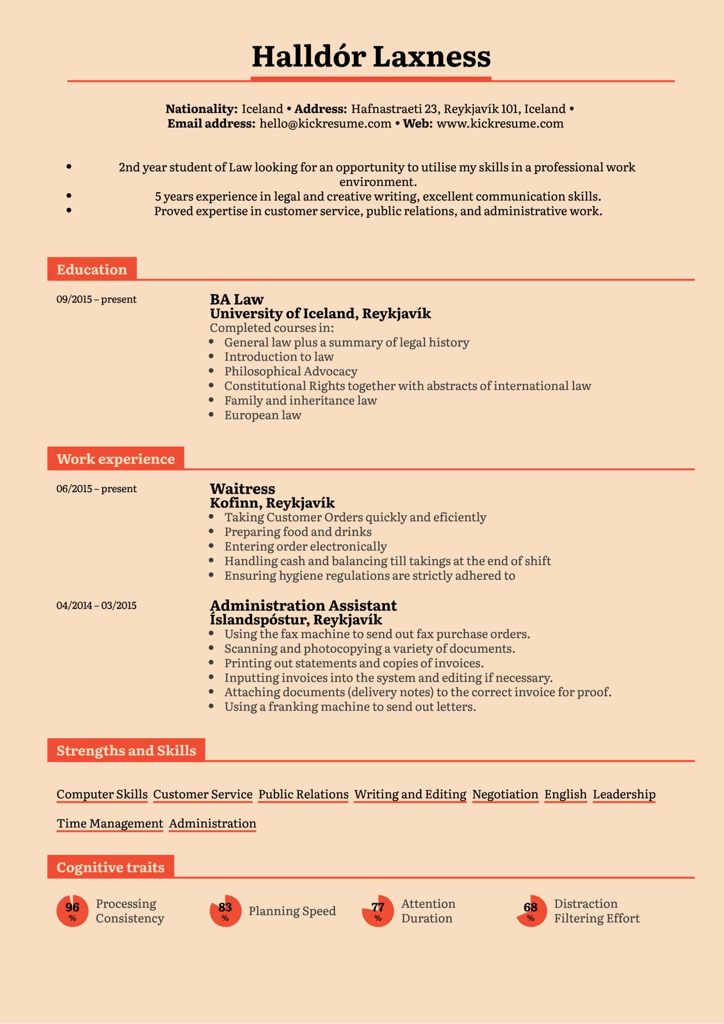 Student Resume Law Internship (Part 1)