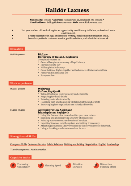 Student Resume Law Internship