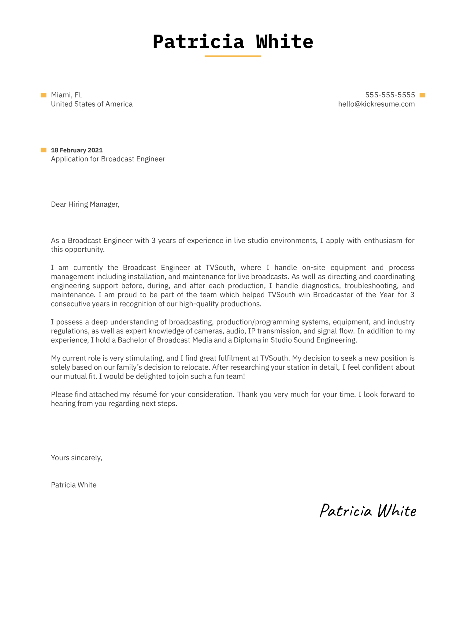 Broadcast Engineer Cover Letter Example