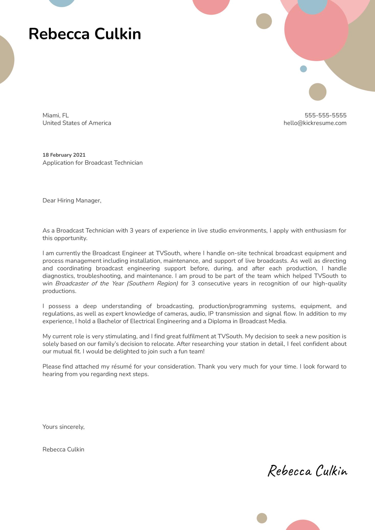 Broadcast Technician Cover Letter Sample