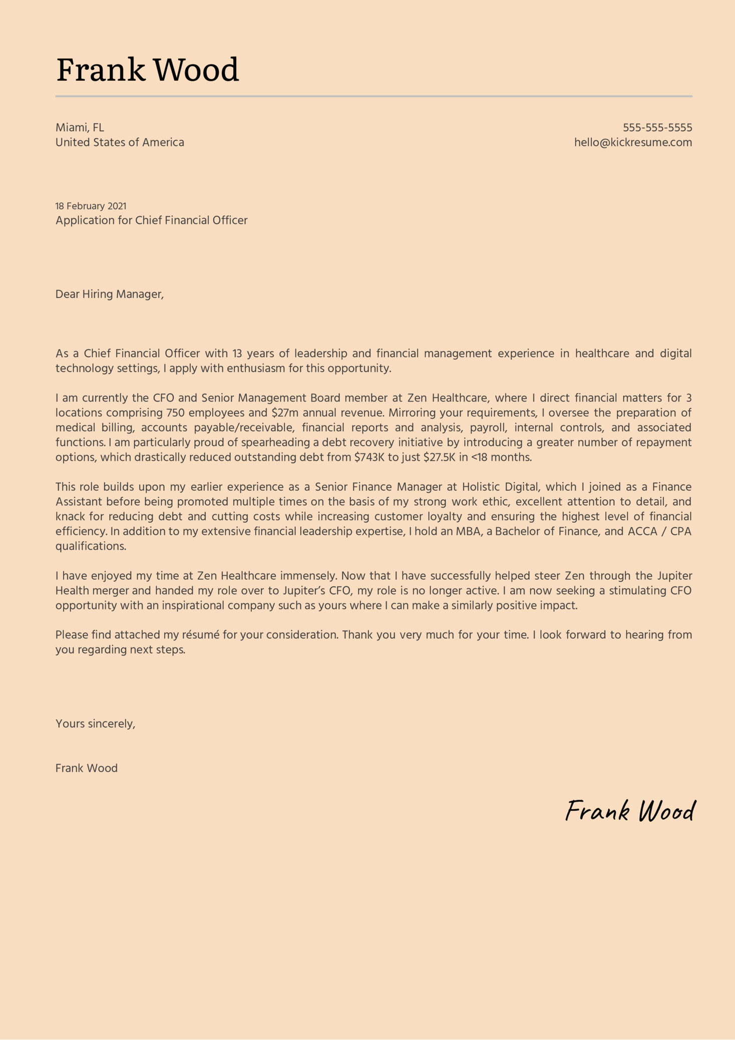 Chief Financial Officer Cover Letter Sample