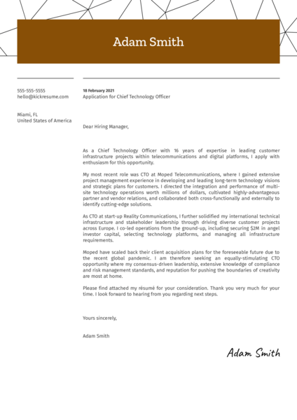 Chief Technology Officer Cover Letter Sample