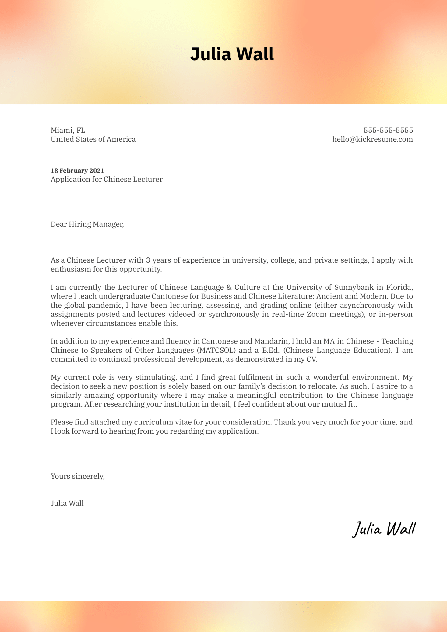 Chinese Lecturer Cover Letter Example