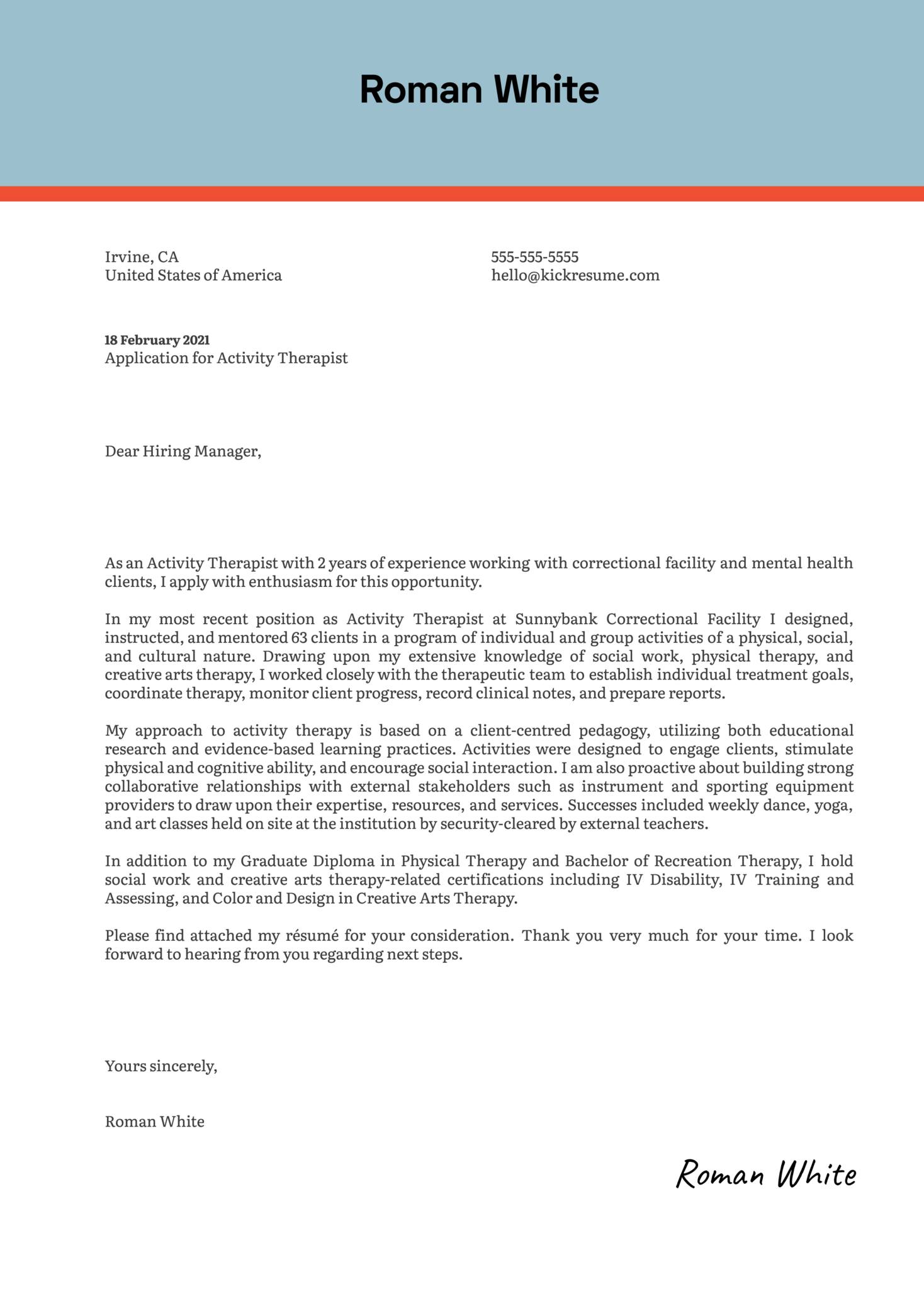 Activity Therapist Cover Letter Example
