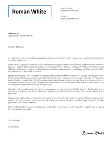 Adjunct Faculty Cover Letter Sample