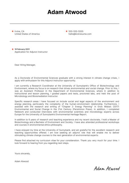 Adjunct Instructor Cover Letter Template
