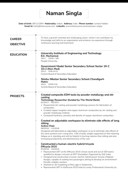 Technology Researcher at the the World Bank Resume Sample