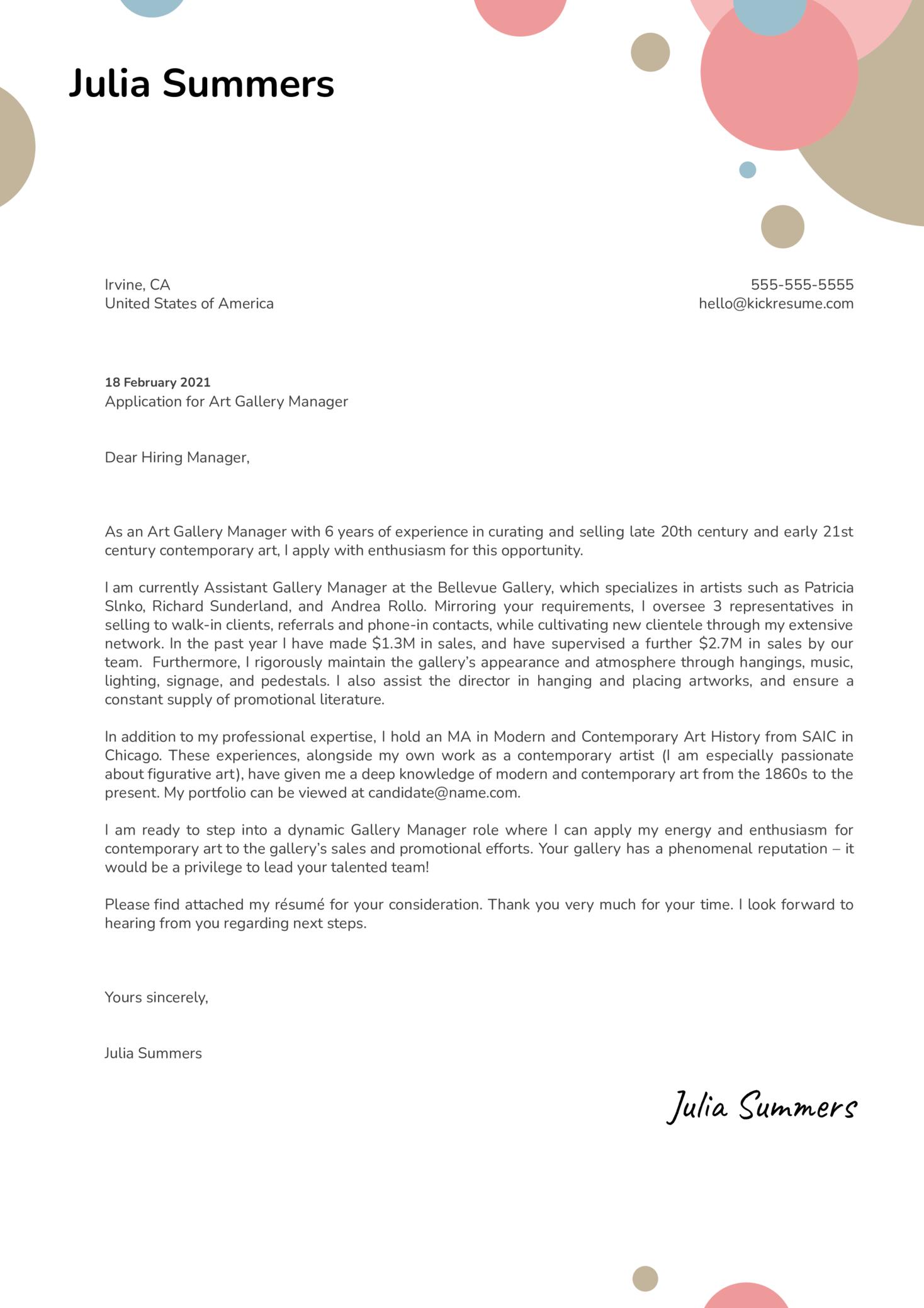 Art Gallery Manager Cover Letter Sample