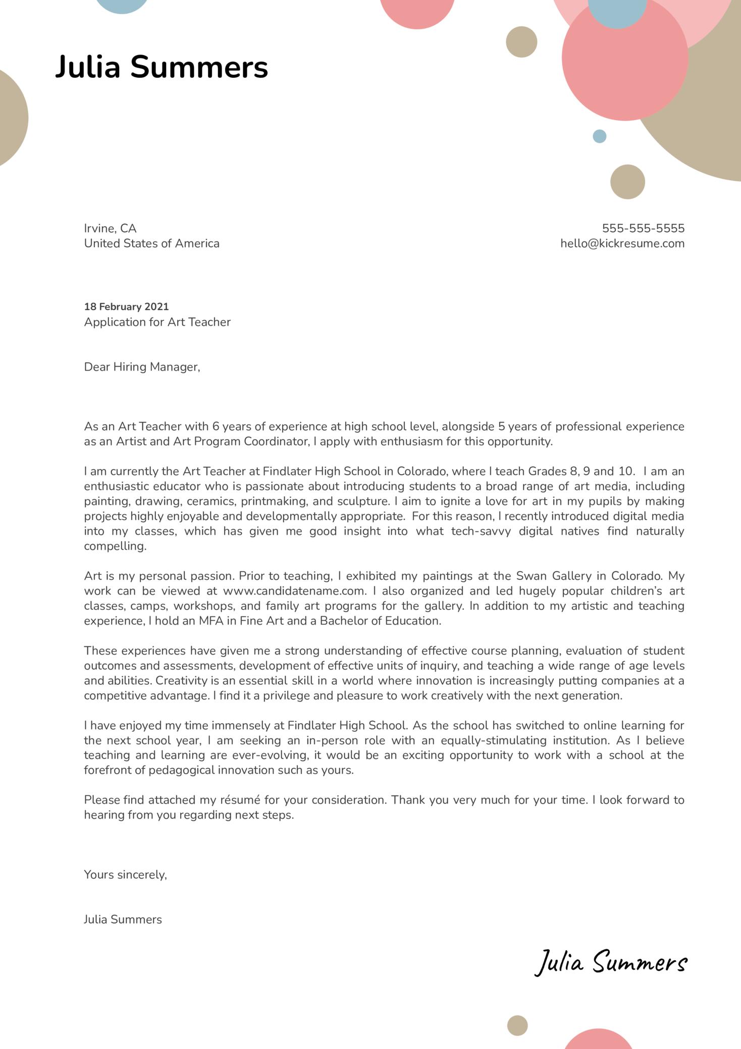 Art Teacher Cover Letter Sample