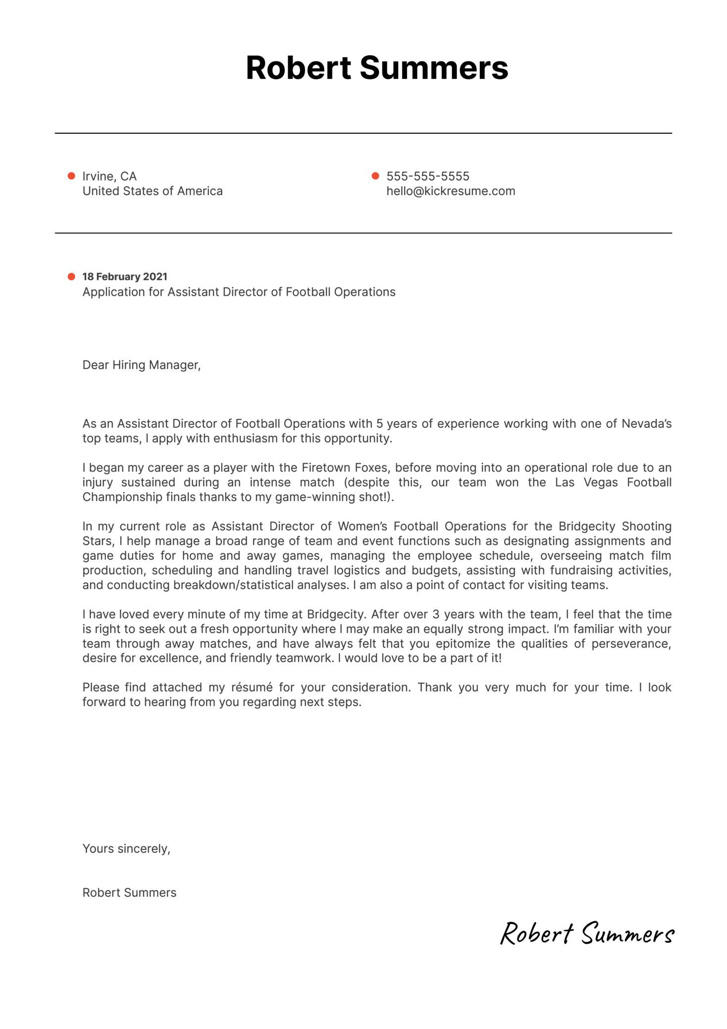 Assistant Director of Football Operations Cover Letter Template