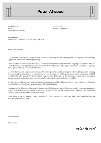 Assistant Director ESL Programs Cover Letter Sample