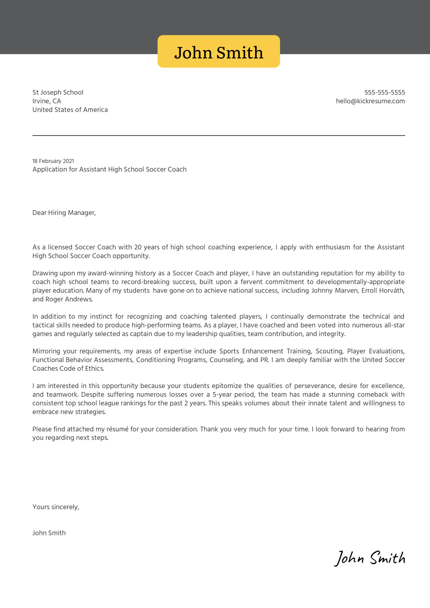 Assistant High School Soccer Coach Cover Letter Sample