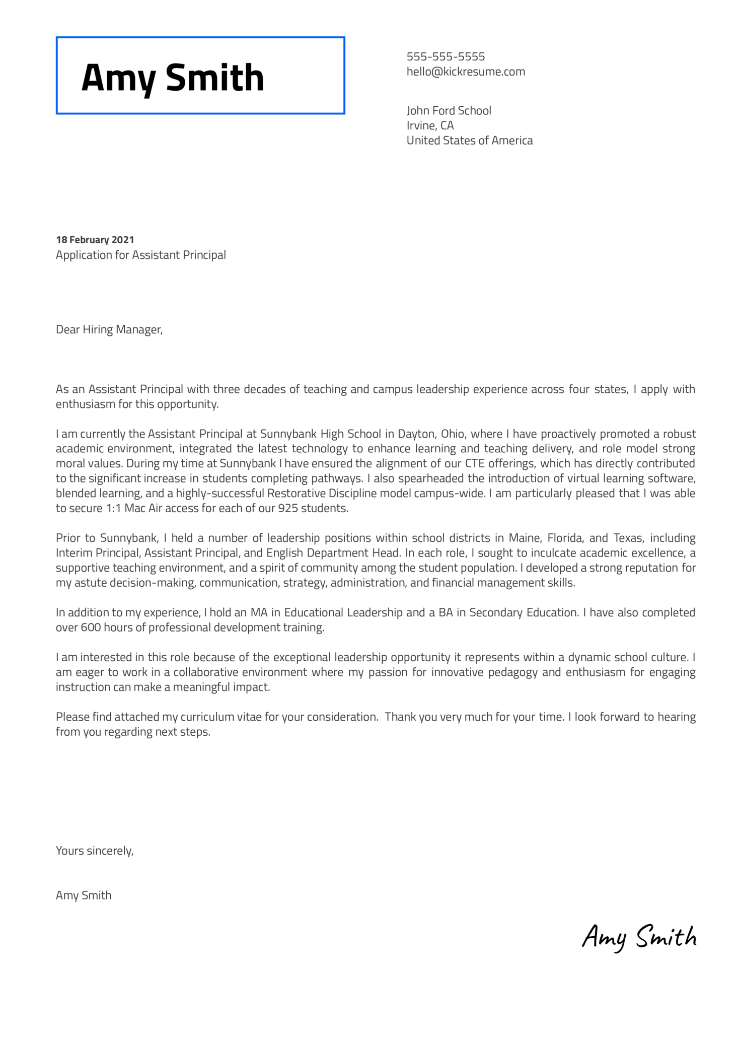 Assistant Principal Cover Letter Template