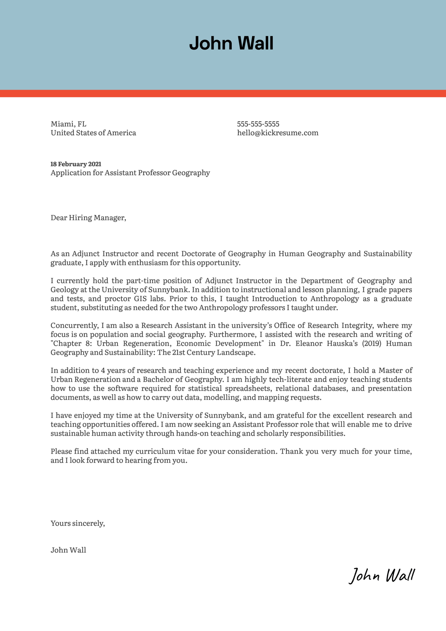 Assistant Professor Geography Cover Letter Example