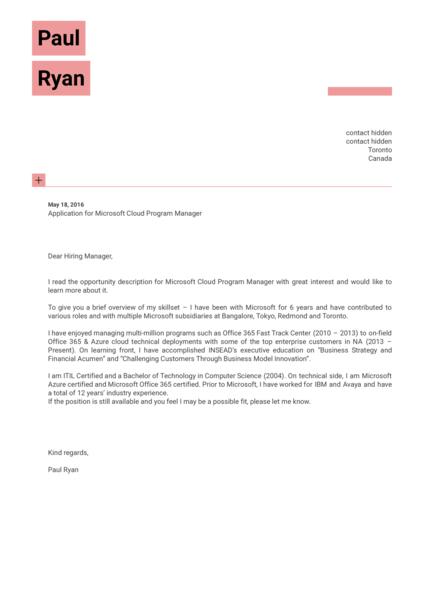 Microsoft Cloud Program Manager Cover Letter Sample