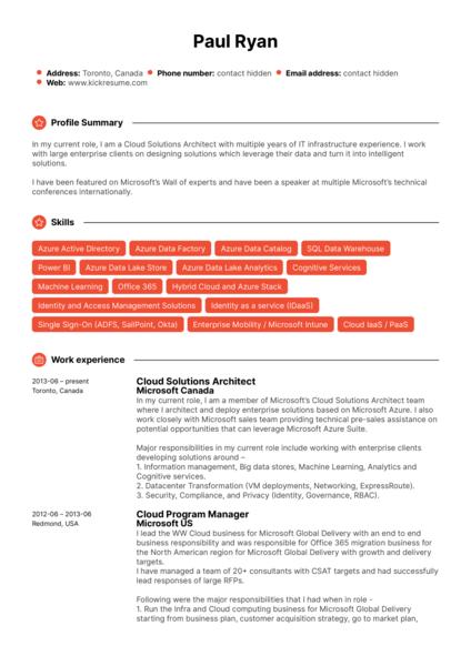 Microsoft Cloud Program Manager Resume Example