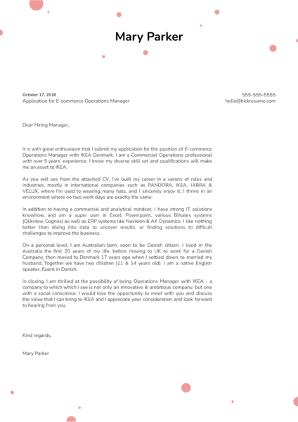 IKEA E-commerce Operations Manager Cover Letter Example