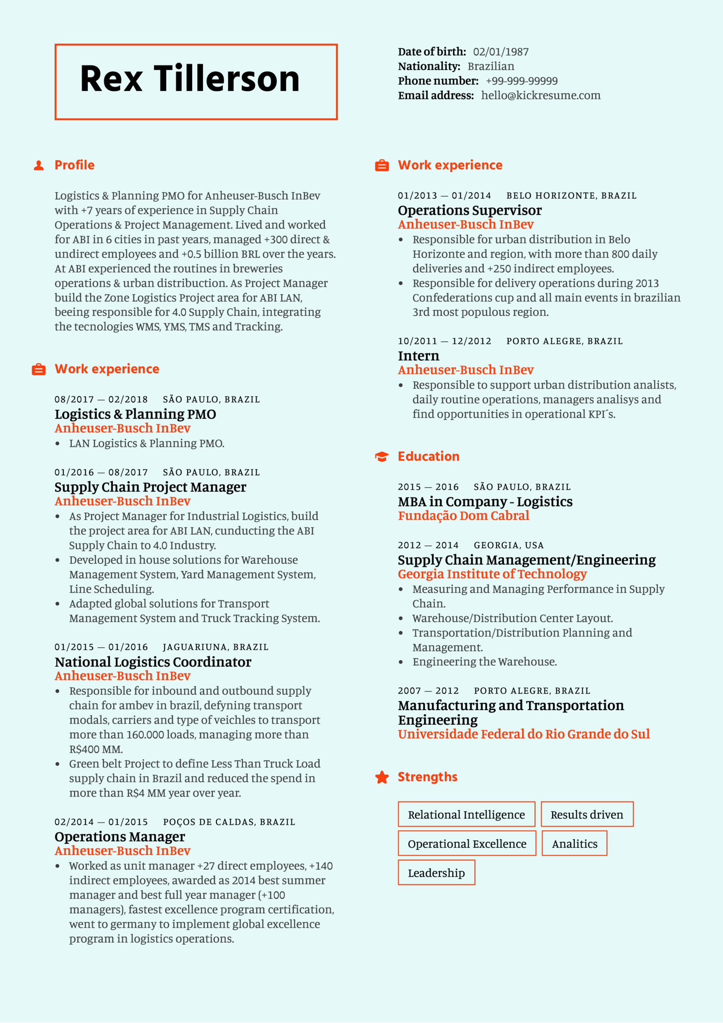 Supply Chain Project Manager Resume Sample (Part 1)