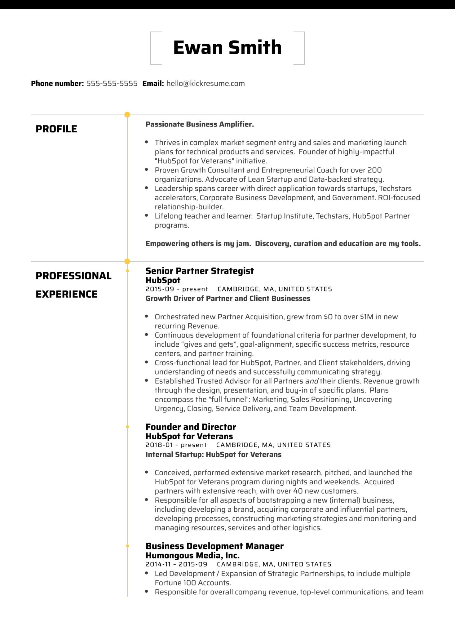 HubSpot Director of Business Development Resume Sample (parte 1)