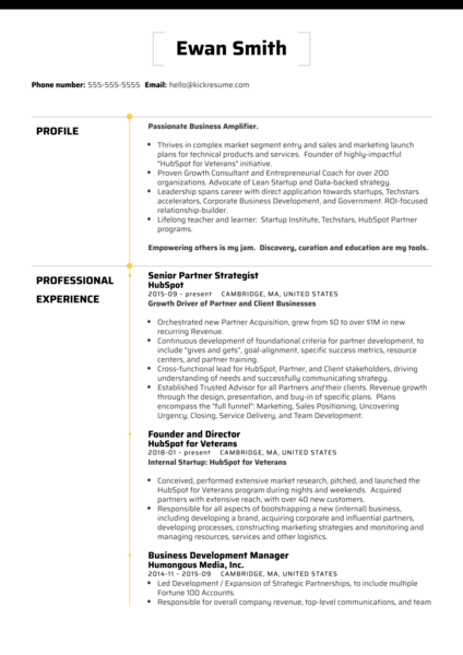 HubSpot Director of Business Development Resume Sample