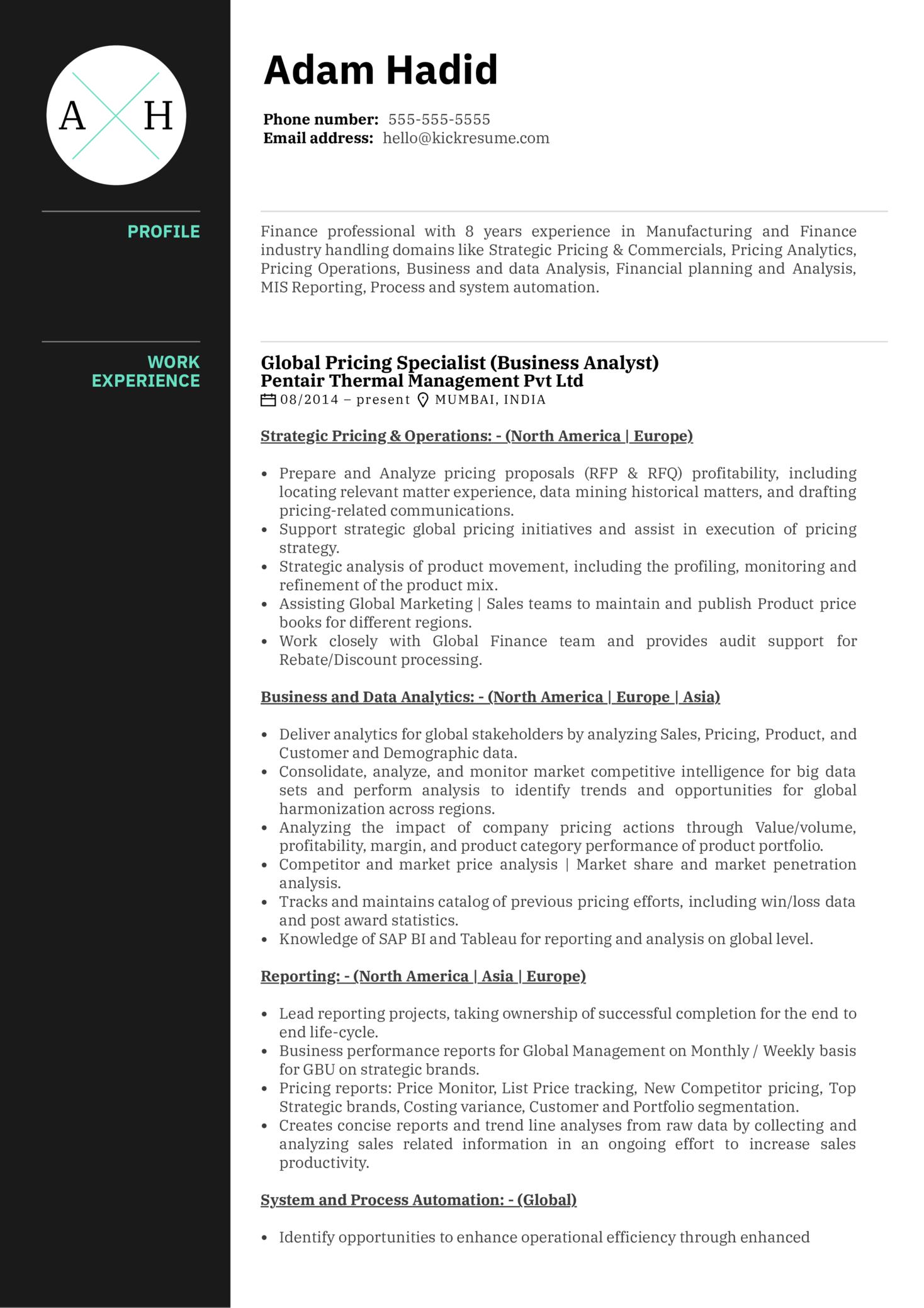 Honeywell Pricing Analyst Resume Example (Parte 1)