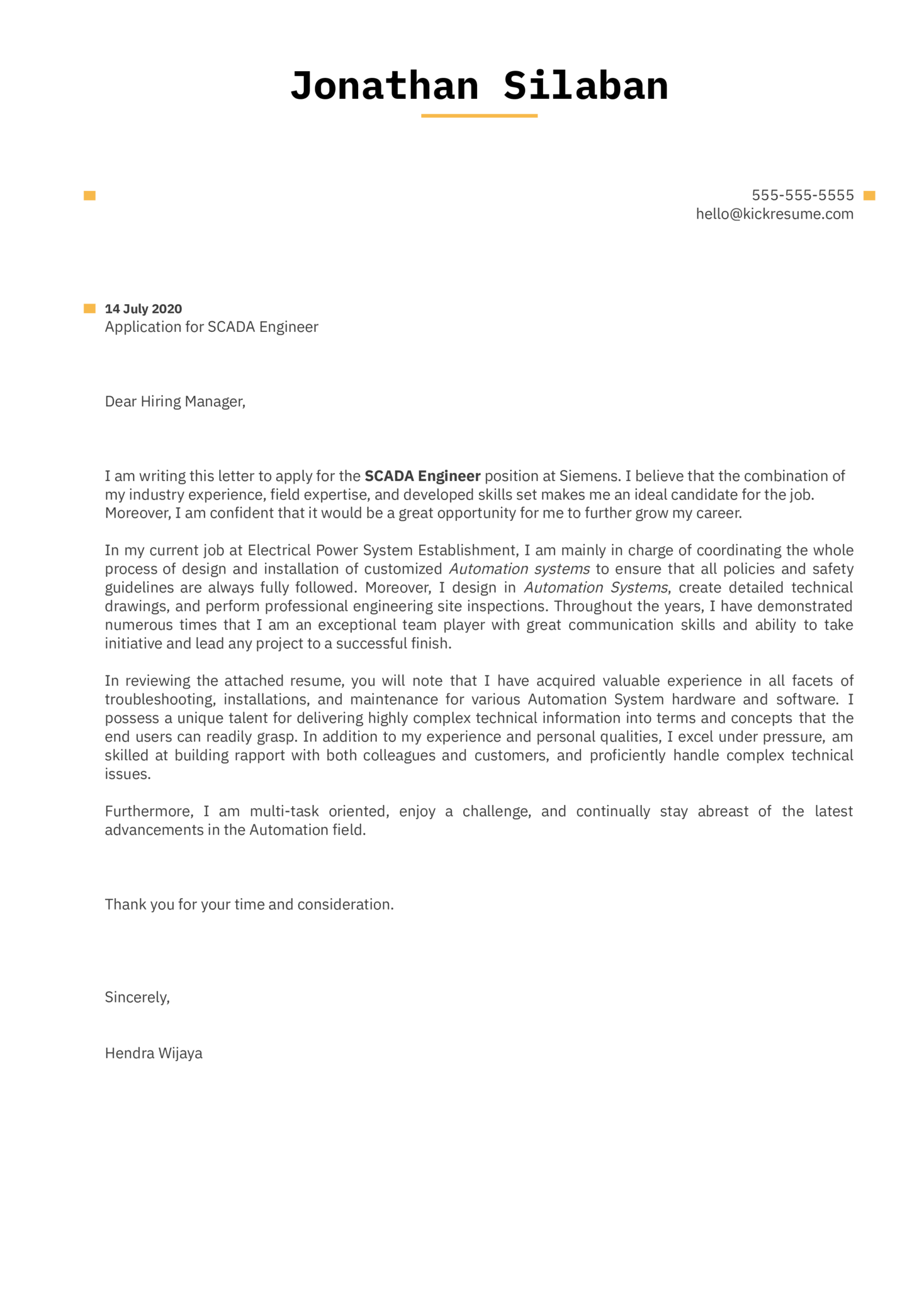 Siemens SCADA Engineer Cover Letter Template
