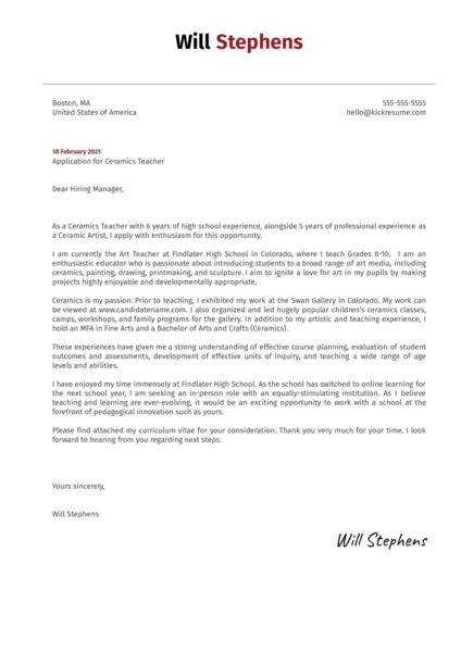 Ceramics Teacher Cover Letter Sample