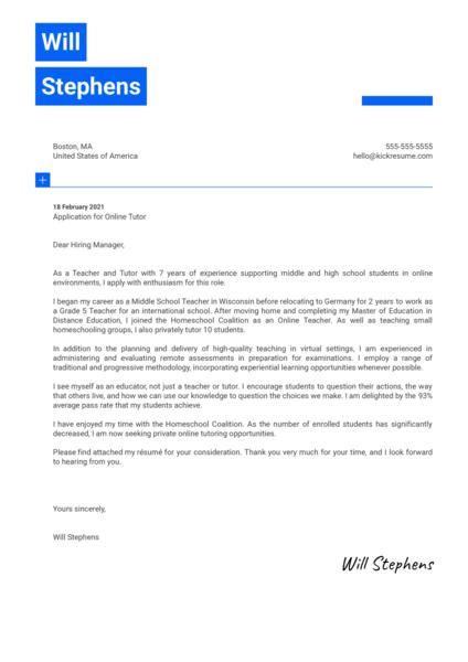 Online Tutor Cover Letter Example