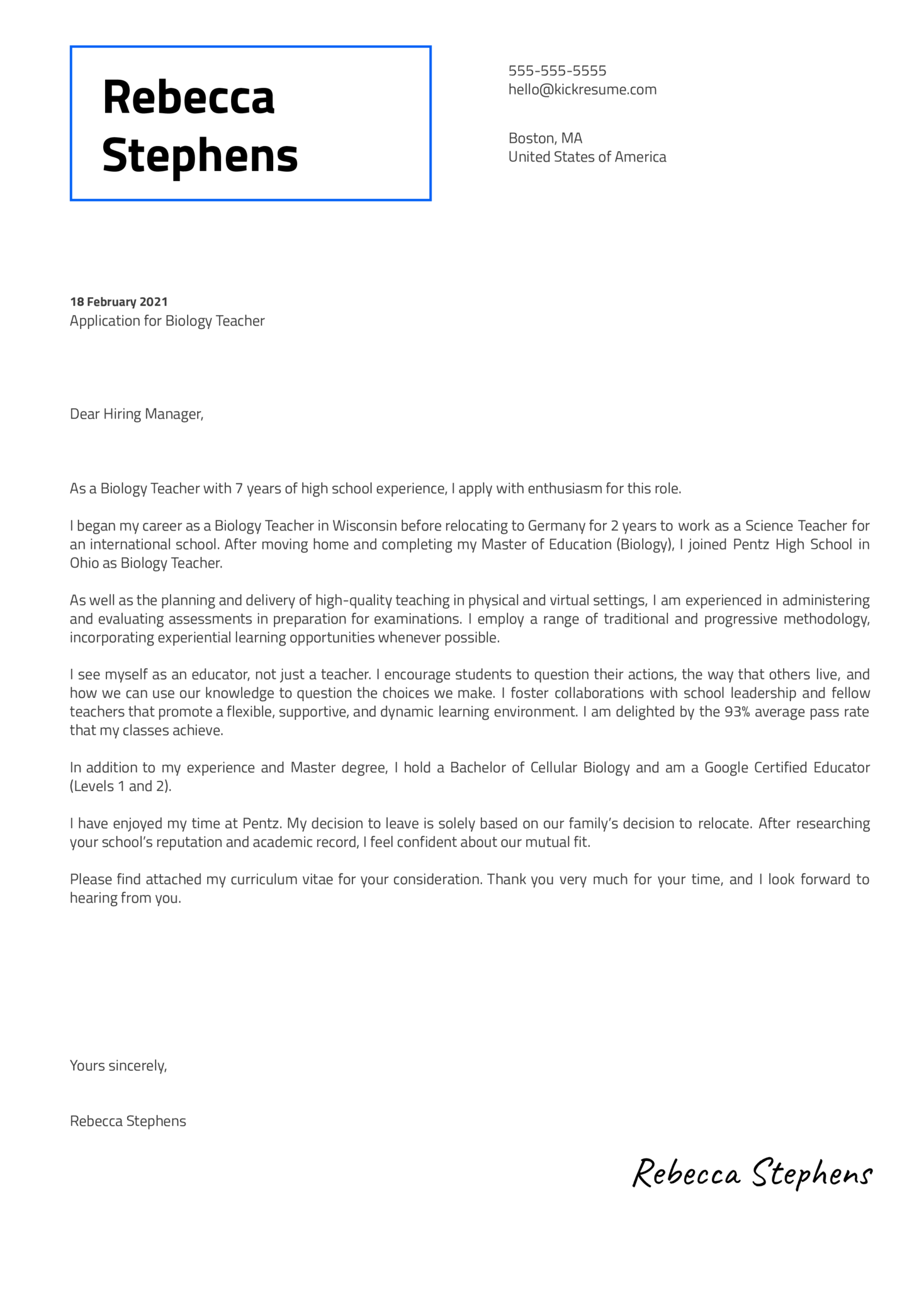 Biology Teacher Cover Letter Template