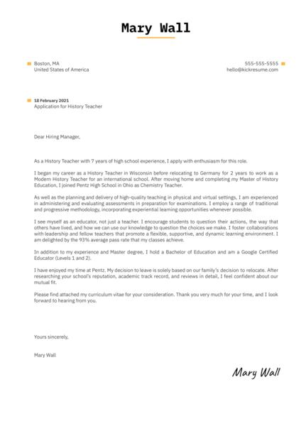 History Teacher Cover Letter Sample