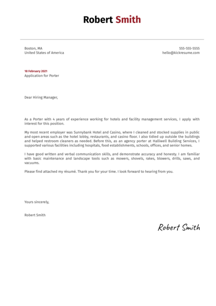 Porter Cover Letter Sample