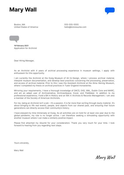 Archivist Cover Letter Sample