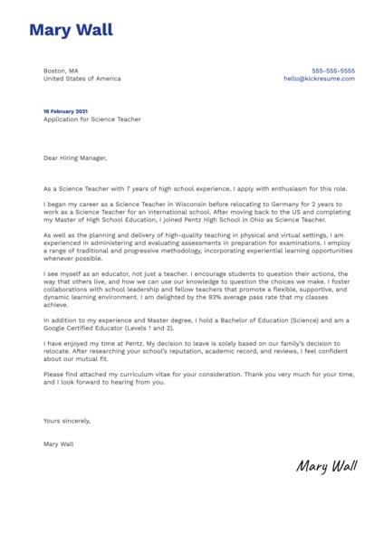 High School Science Teacher Cover Letter Template