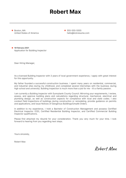 Building Inspector Cover Letter Example
