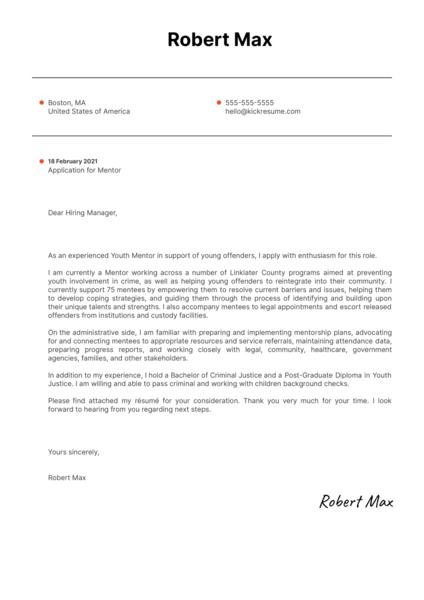 Mentor Cover Letter Sample