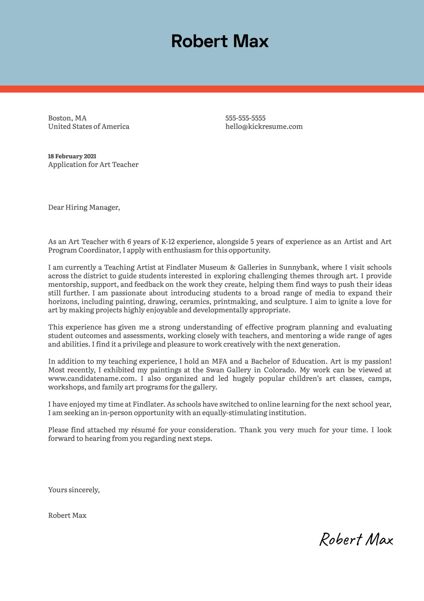 Art Teacher Cover Letter Example