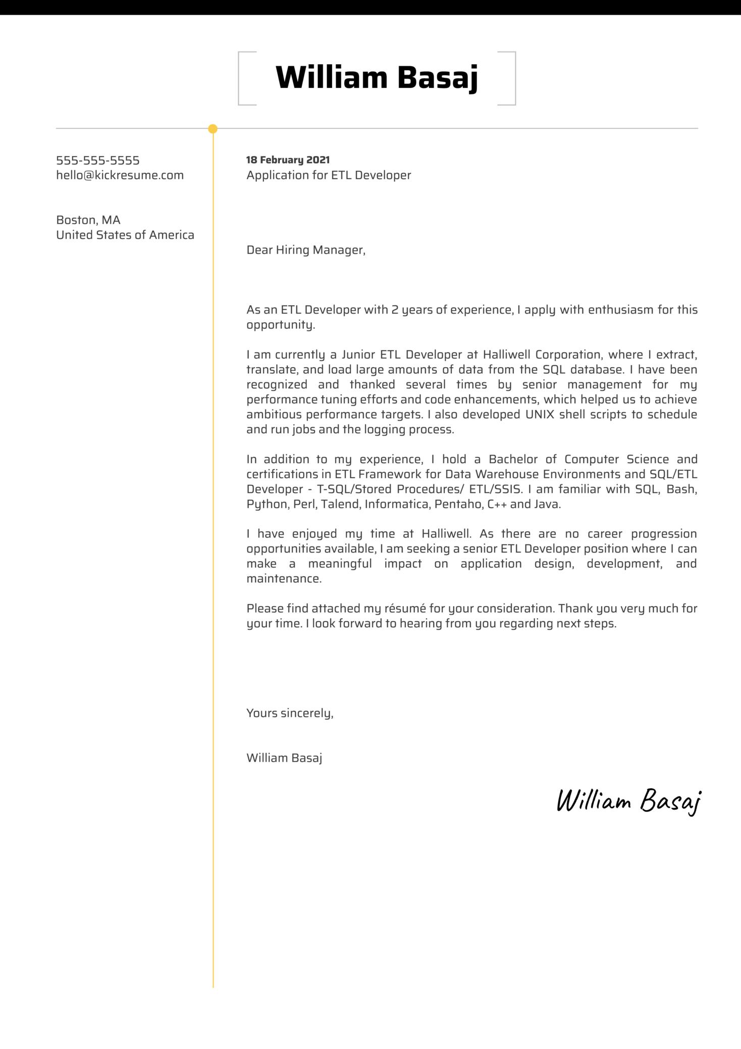 ETL Developer Cover Letter Template