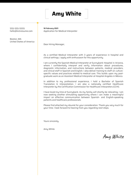 Medical Interpreter Cover Letter Example