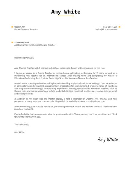 High School Theatre Teacher Cover Letter Sample