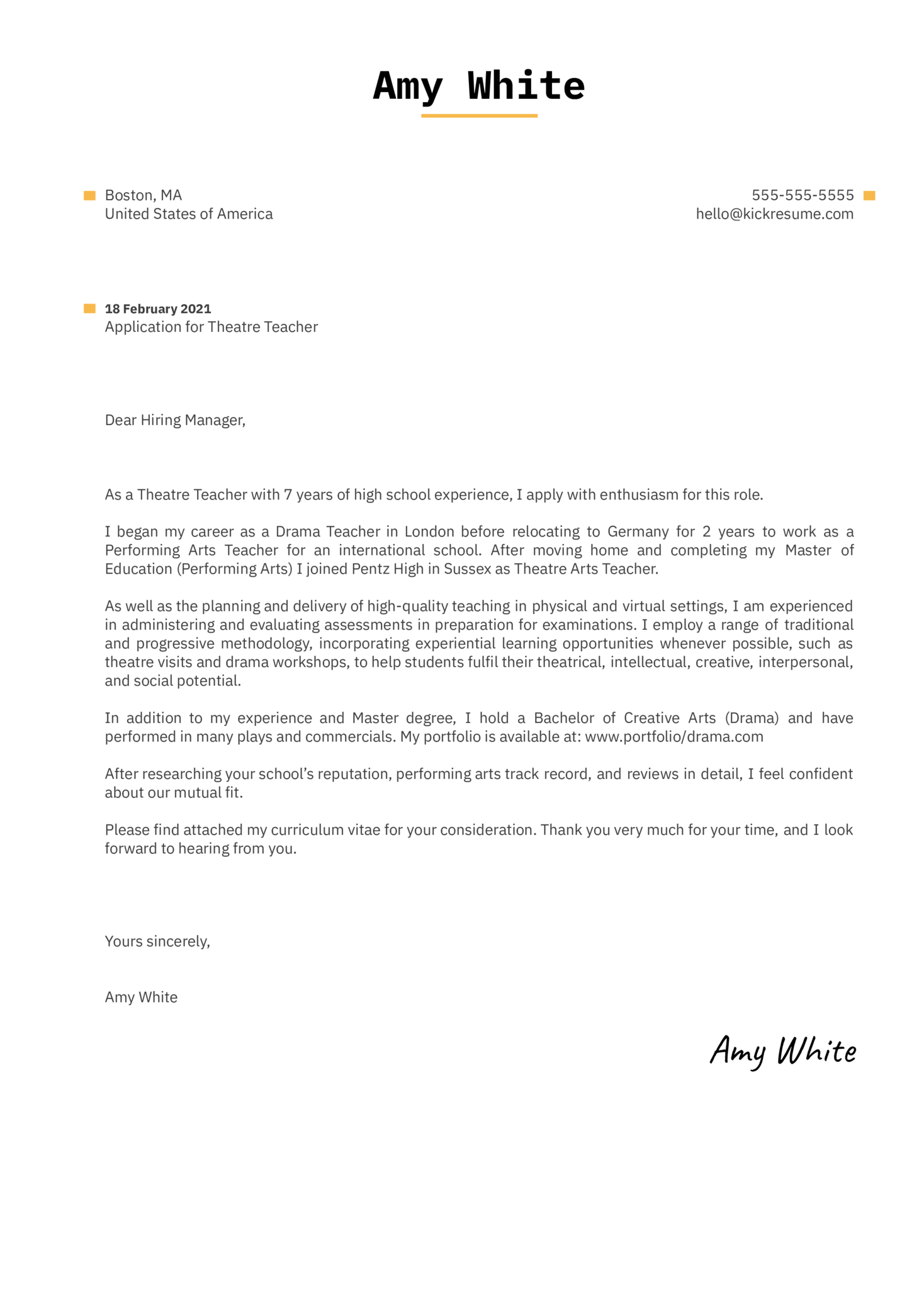 Theatre Teacher Cover Letter Example