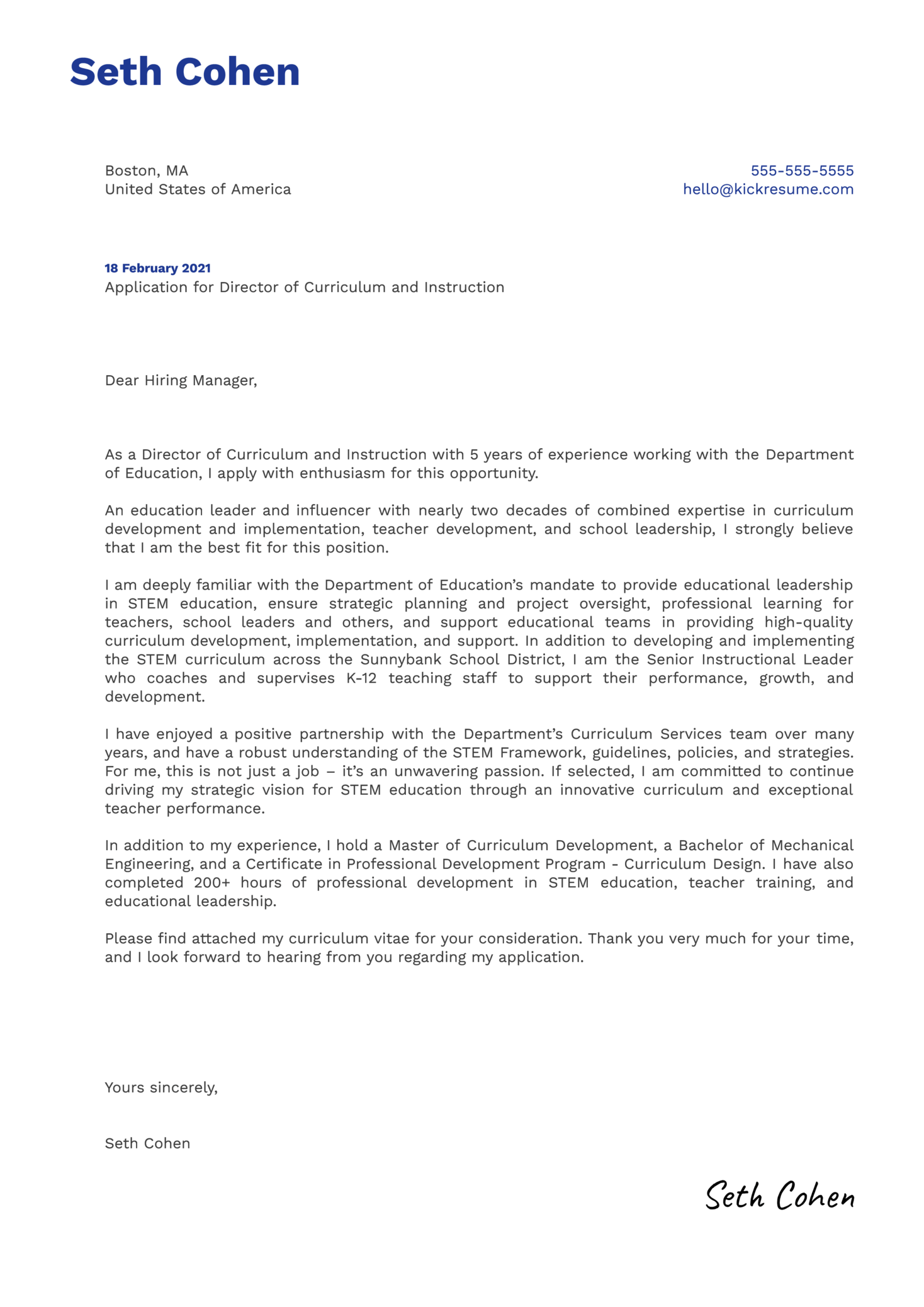 Director of Curriculum and Instruction Cover Letter Template