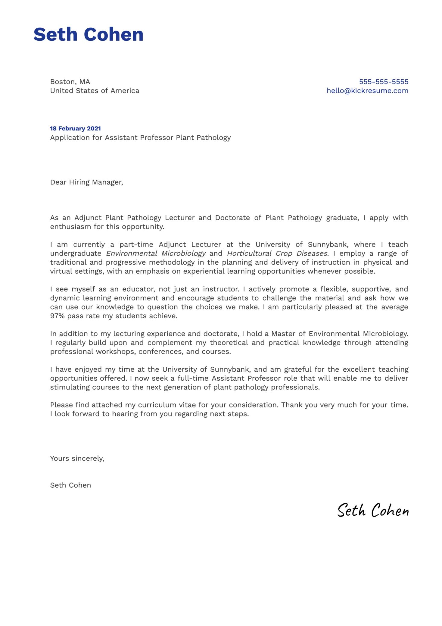 Assistant Professor Plant Pathology Cover Letter Example