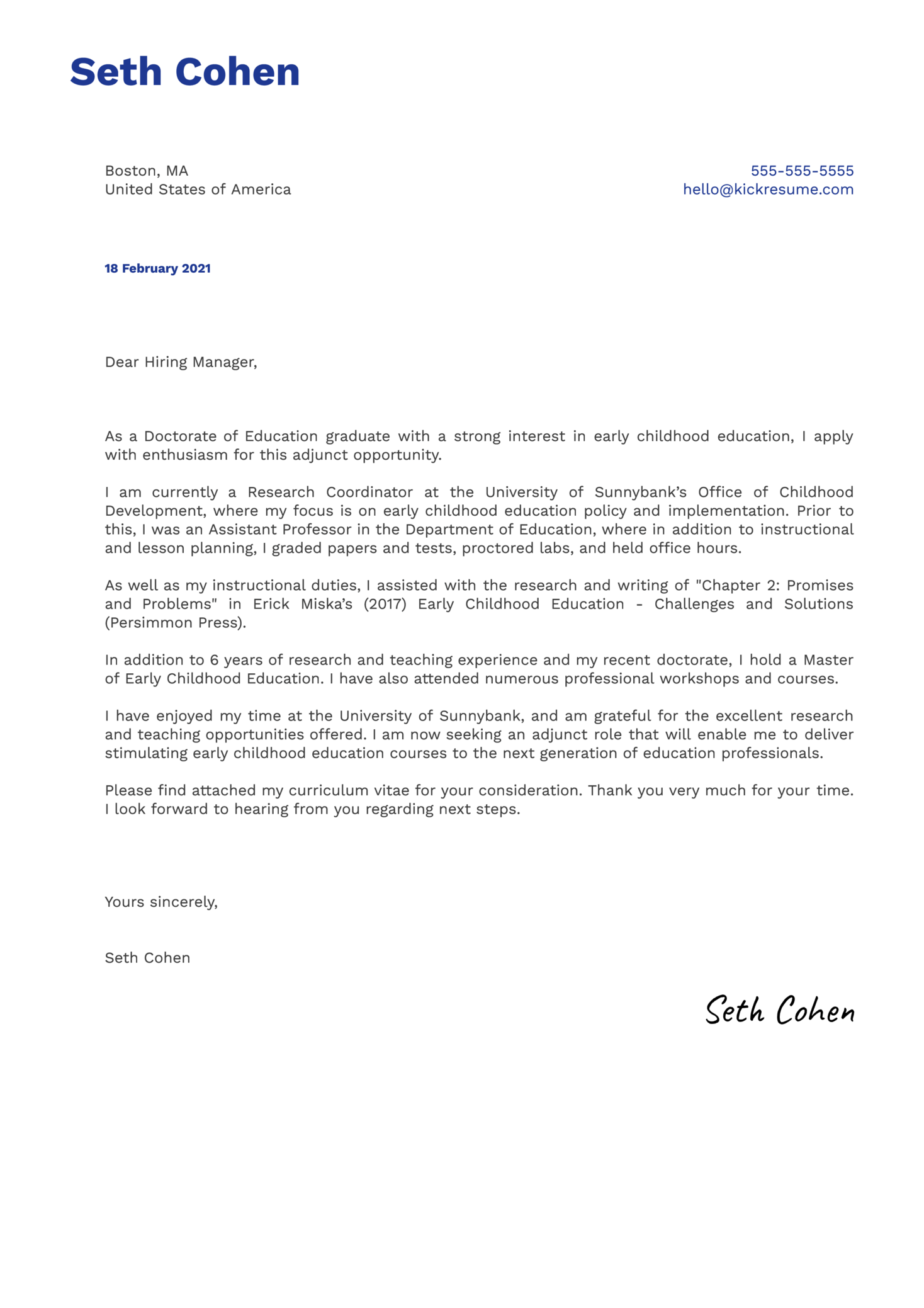 Adjunct Faculty Education Cover Letter Example