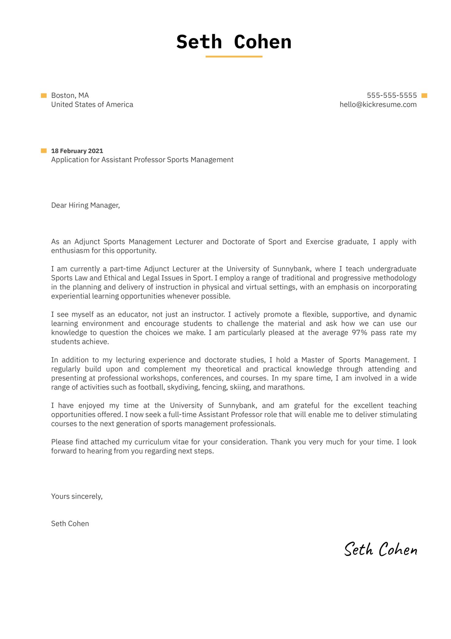 Assistant Professor Sports Management Cover Letter Sample