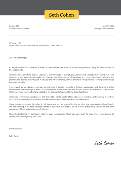 Assistant Professor Nutrition and Food Science Cover Letter Template