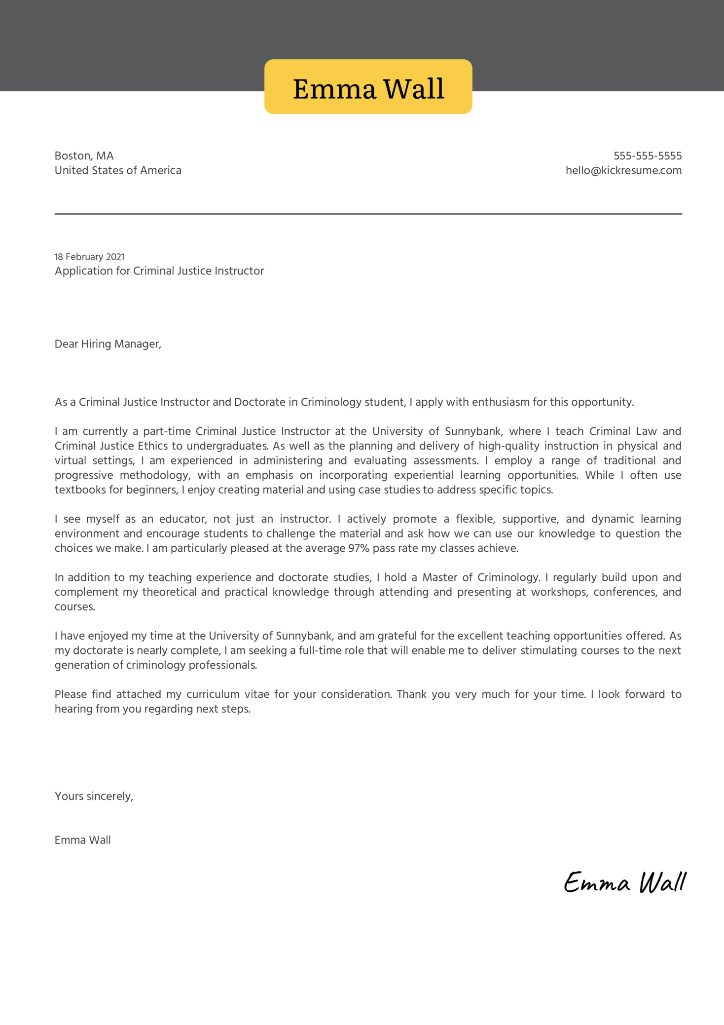 Criminal Justice Instructor Cover Letter Example